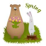 与熊和兔子的春天卡片 免版税库存照片
