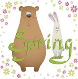 与熊和兔子的春天卡片 库存照片
