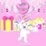 与熊和气球的生日快乐桃红色 皇族释放例证