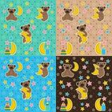 与熊月亮星的婴孩纹理 免版税图库摄影