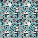 与熊猫和竹子,植物,密林,鸟,莓果,花的无缝的逗人喜爱的样式 皇族释放例证