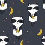 与熊猫的五颜六色的无缝的样式,月亮,星 与动物的装饰逗人喜爱的背景 库存例证