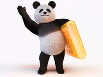 与熊猫的可膨胀的床垫 免版税库存图片