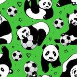 与熊猫的无缝的样式 图画递她的温暖的妇女年轻人的早晨内衣 库存例证