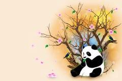 与熊猫的米黄贺卡 免版税库存照片