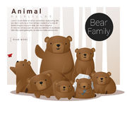 与熊的逗人喜爱的动物家庭背景 向量例证