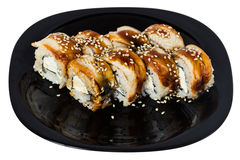与熏制的侧房的Maki寿司。 库存照片