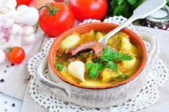 与熏制的猪排的蔬菜汤 免版税库存照片