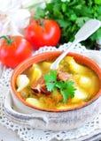 与熏制的猪排的蔬菜汤 库存图片