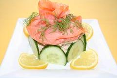 与熏制鲑鱼的开胃菜 库存图片