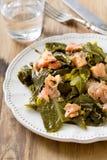 与熏制鲑鱼的沙拉圆白菜 库存图片