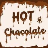 与熔化的作用的热巧克力模板 库存照片