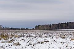 与熔化的雪的被犁的领域在早期的春天 免版税库存图片