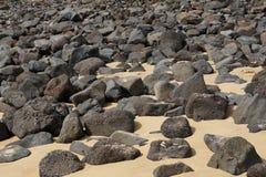 与熔岩岩石的沙子海滩在费埃特文图拉岛 库存图片