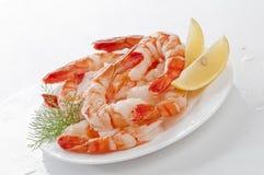 与熟食店叶子和柠檬的蒸的超大无首的虾在白色背景的白色板材 库存照片