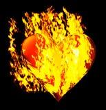 与燃烧的火焰的心脏 库存图片