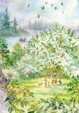 与燕子的春天风景 库存照片