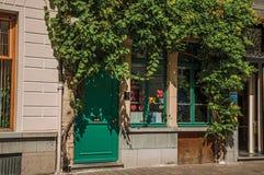 与爬行物的餐馆门面在跟特的市中心 库存照片