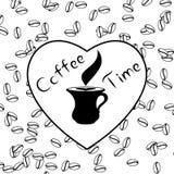与爱和咖啡豆的咖啡时间 库存图片