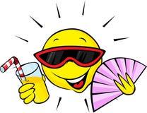 与爱好者和橙味饮料的夏天太阳 库存例证