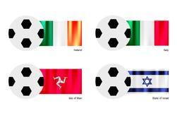 与爱尔兰、意大利、曼岛和以色列旗子的橄榄球 库存图片