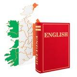 与爱尔兰的地图,3D的英语语言书翻译 向量例证