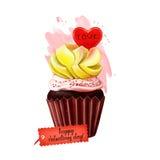 与爱心脏的愉快的情人节可口蛋糕在上面 甜假日礼物的杯形蛋糕 与奶油的饼干和 库存图片