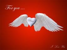 与爱摘要的白色心脏天使 库存图片