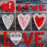 与爱标志的华伦泰拼贴画在木背景 免版税库存图片