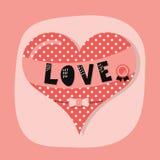 与爱横幅的逗人喜爱的多斑点的心脏象征和奖在桃红色背景鞠躬 库存照片