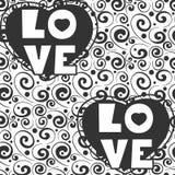 与爱词和心脏的逗人喜爱的手拉的文本背景 免版税库存照片