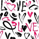 与爱词,心脏的无缝的样式 库存例证