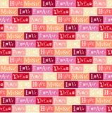 与爱,和平,梦想,灵魂,希望,音乐字法的无缝的样式,拉丁文在五颜六色的背景 免版税库存图片