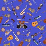 与爵士乐仪器的传染媒介无缝的样式 库存图片