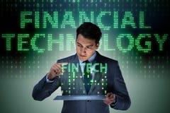 与片剂的商人在财政技术fintech概念 免版税库存图片