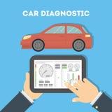 与片剂的汽车诊断 向量例证