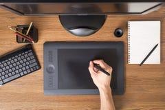 与片剂,键盘,计算机的设计师工作区 免版税库存图片