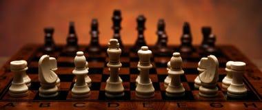 与片断的下棋比赛在桌上 库存图片