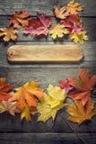 与牌,在老难看的东西木头的橙色叶子的秋天背景 图库摄影
