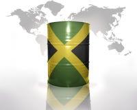 与牙买加旗子的桶 库存照片