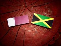 与牙买加旗子的Qatari旗子在被隔绝的树桩 库存照片