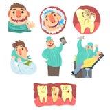 与牙齿保护做法和被赋予人性的牙字符的滑稽的动画片牙医和患者例证集合 库存例证