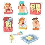 与牙齿保护做法和被赋予人性的牙字符的滑稽的动画片牙医和患者例证系列 向量例证