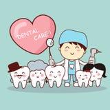 与牙医的愉快的牙家庭 免版税库存照片