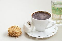 与牛奶奶油巧克力开心果土耳其语delig的土耳其咖啡 库存图片