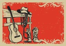 与牛仔衣裳和音乐吉他的葡萄酒海报 免版税库存图片