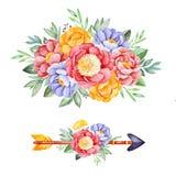 与牡丹、玫瑰、叶子、花、分支和箭头的2可爱的花束 库存例证