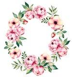 与牡丹、花、叶子、多汁植物、分支,草莓和更多的可爱的花束 库存例证