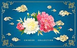 与牡丹和中国云彩的背景 免版税库存照片