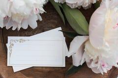 与牡丹的大模型 木背景 有您的文本的笔记本 名片财务系列 库存图片